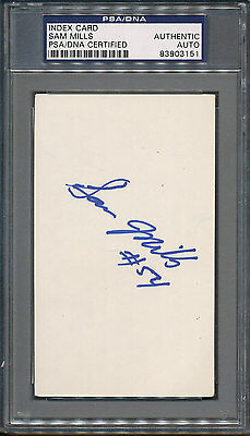 Sam Mills Signed Index Card PSA/DNA Certified Authentic Auto Autograph *3151