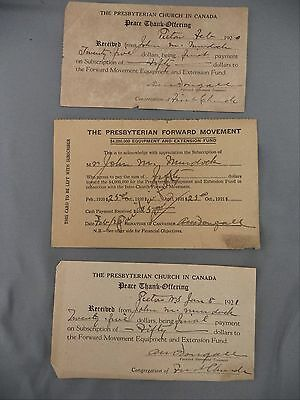 Presbyterian Forward Movement Pledge Receipts 1920 Lot Thank Offering Pictou NS