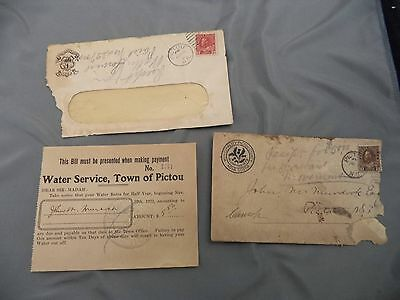 Advertising Municipality Pictou NS Water Service Bill 1920  Envelope Cancel