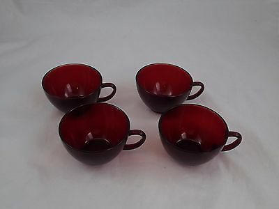 Vintage Set of 4 Coffee Tea Cup Set Red Royal Ruby Glass Anchor Hocking