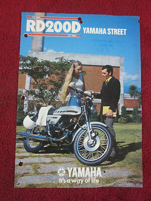 Yamaha RD200D Brochure 1977 RD 200 RD200 Advertising Sales Brochure