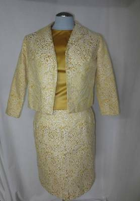 Stunning Jr Theme 3-Pc Suit Gold & White Brocade Crop Jacket Jackie O Fashion 11