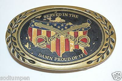 Vintage Served In The US Military And Damn Proud Of It Brass Belt Buckle Marines
