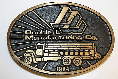 Vintage Double L Manufacturing Co 1984 Truck Solid Brass Belt Buckle RARE