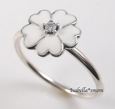 5481f079d0a PRIMROSE Genuine PANDORA Silver WHITE ENAMEL Cz FLOWER Stackable Ring 4.5 48  NEW