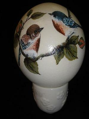 Beautiful Hand Painted Emu Egg With Stand Bluebirds And Roses