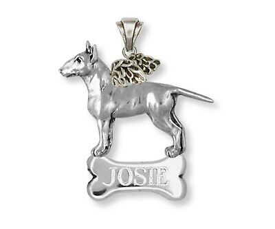 Bull Terrier Angel Pendant Handmade Sterling Silver Dog Jewelry BU11-ANP