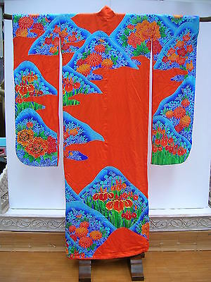 Kimono Japanese ORANGE Flowers and Mountains Vintage #26