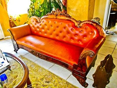 Antique empire style flamed mahogany 85in civil war era victorian sofa leather