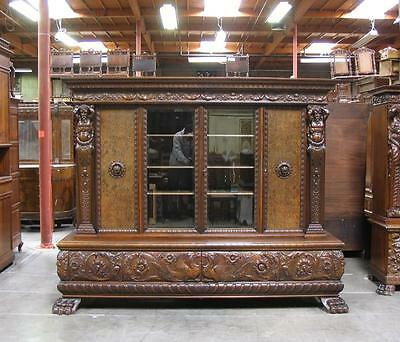66150 : Large Antique Carved German Bookcase w/ Man Of The Mountain Figures