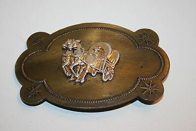 Vintage Western Covered Wagon Brass Belt Buckle Country Cowboy Unique
