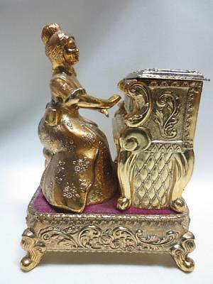 Mechanical Figural Renaissance Woman Playing Piano Musical Jewelry Box TAJ