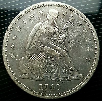 ☆☆ SCARCE 1840 U.S. Seated Liberty Silver Dollar 61,005 Minted 1st Year Issue ☆☆