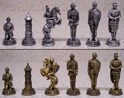 "Chess Set with Glass Board Medieval Knights in Armor NEW 3 1/2"" Kings"