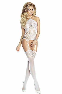 "Provocative! Weiss floraler Cut outs Body Stocking Catsuit Offen ""PR4664"" Gr.S/M"