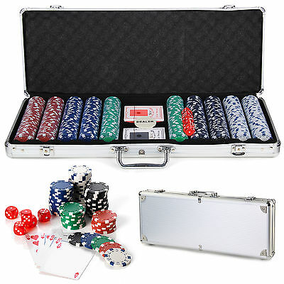 New 500 Casino Play Texas Poker Chips Set 11.5G With Cards Decks Dice Carry Case
