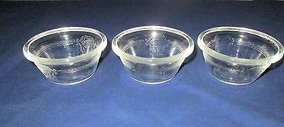3 McKee Glasbake Clear Glass #286 SHIELD Poppy Custard Cups/Bowls (loc-big)