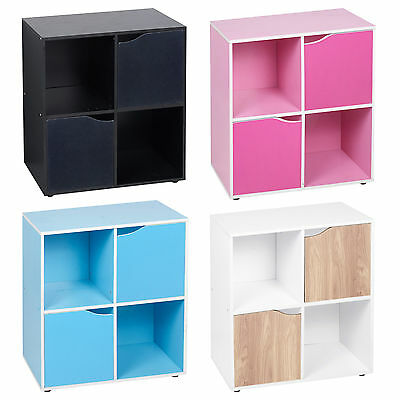4 Cube Wooden Bookcase Shelving Display Shelves Storage Unit Wood Shelf Door New