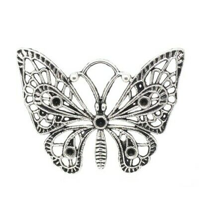 Packet of 2 x Antique Silver Tibetan 48mm Charms Pendants (Butterfly) ZX03820