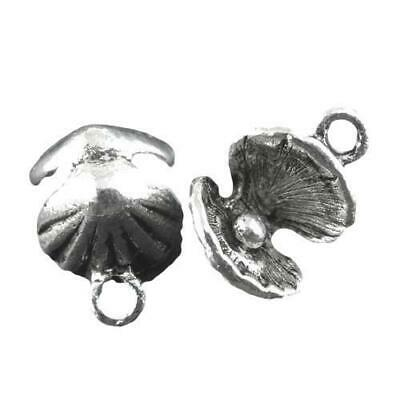 Packet of 8 x Antique Silver Tibetan 15mm Charms Pendants (Shell) ZX03410