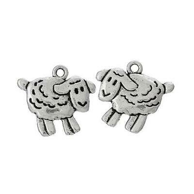 Packet of 8 x Antique Silver Tibetan 18mm Charms Pendants (Sheep) ZX10270