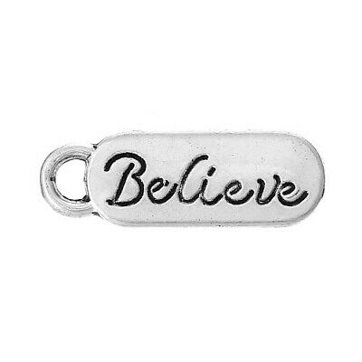 Believe Charm/Pendant Tibetan Antique Silver 20mm  10 Charms Accessory Jewellery