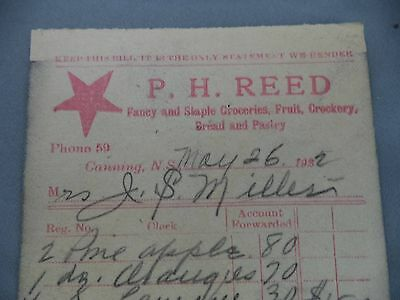 Advertising Receipt PH Reed Groceries Crockery 1922 Bill of Sale Canning NS