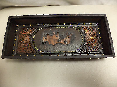 NEW- Horse Head What Not Tray For Keys, Wallet,Change Etc-Leather Look-Western