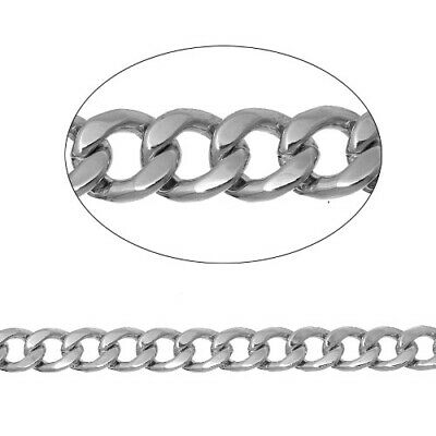 2m x Silver Tone Anti Tarnish Iron Alloy 6 x 7mm Open Curb Chain CH1485