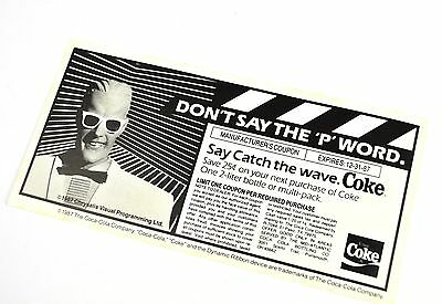 Schöner Coca-Cola Coupon USA 1980er - Don't say the 'P' Word - Max Headroom