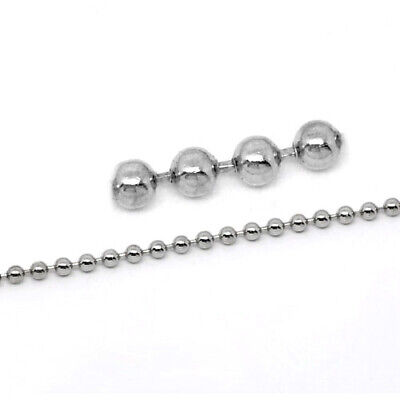 10 Metre Silver Metal Alloy 2.4mm Ball Chain CH1690