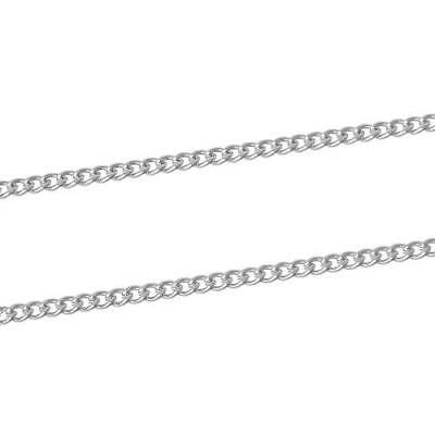 Continuous Length 4 Metres Silver Plated Alloy 2x3mm Curb Chain CH1115