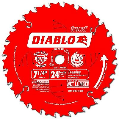 Freud D0724X Diablo 7-1/4-Inch 24 Tooth ATB Carbide Framing Saw Blade with 5/...