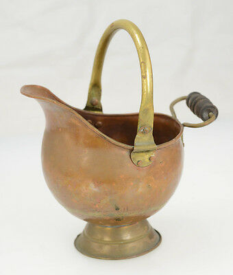 Antique Copper Brass Dovetail Fireplace Coal Scuttle Bucket w/ Wood Handle L8Y