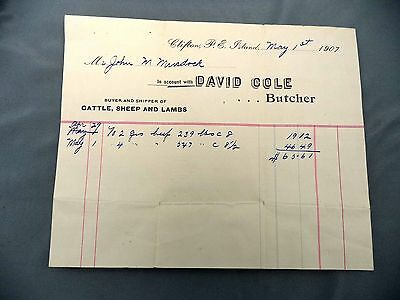 Letterhead Advertising David Cole Meat Dealer Cattle Lamb May 1907 Clifton PEI