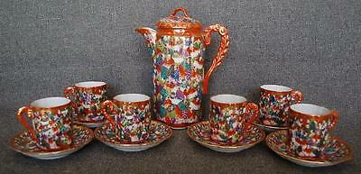Stunning Nippon Scholar Motif Chocolate Pot With Six Matching Cups And Saucers