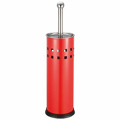 Red Stainless Steel Bathroom Toilet Cleaning Brush And Holder Free Standing