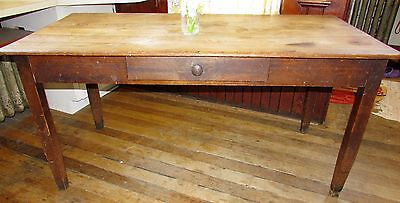 ORIGINAL Vtg Antique Wood Drawer Harvest Primitive Country Farmhouse Table 60""