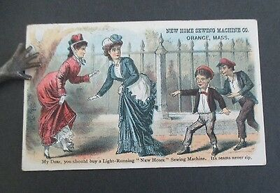 NEW HOME SEWING MACHINE Orange MA Victorian Trade Card, Catskill NY Agent