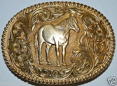 Vintage HORSE CRUMRINE Equestrian Western Gold Plated Belt Buckle Rare