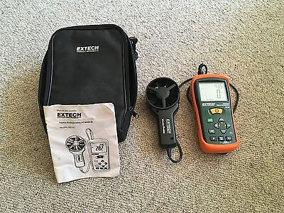 Extech AN100 CFM/CMM Thermo-Anemometer w/Case & Manual - BARELY USED
