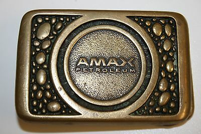 Vintage Rare Amax Petroleum Solid Heavy Brass Belt Buckle Unique VHTF