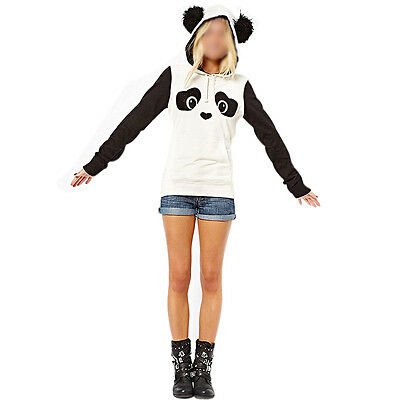 Women's Ladies Cute Panda Fleece Pullover Hoodie Sweatshirts Tops Sweater Jumper