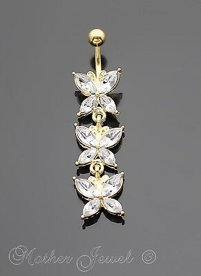 Triple Butterfly Dangle Yellow Gold Plate Surgical Steel Navel Belly Bar Ring
