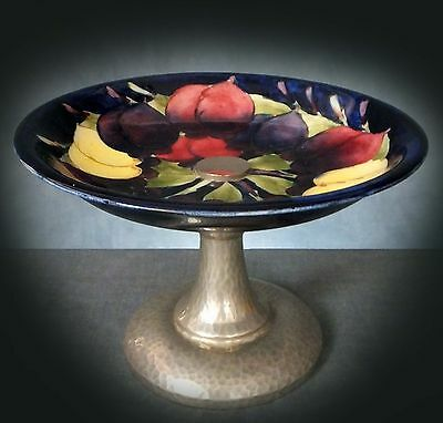 WONDERFUL RARE MOORCROFT PLUM PATTERN TUDRIC PEWTER MOUNTED COMPORT for LIBERTY