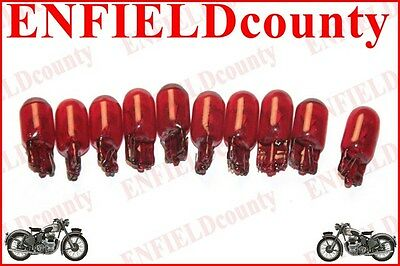 10 RED WEDGE BASE CAR SCOOTER MOTORBIKE SPEEDO BULBS 12V-3.4W 9.8/18/23mm SPARES