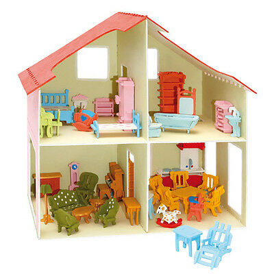 "Holz bausatz Puppenhaus mit Möbel 3 D (Wood design ""Dollhouse"" with furniture)"