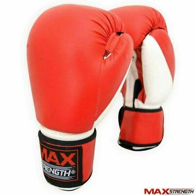 Boxing Punch Gloves Rex Leather Gym Kick Fight Training Muay Thai PVC Bag Mitts