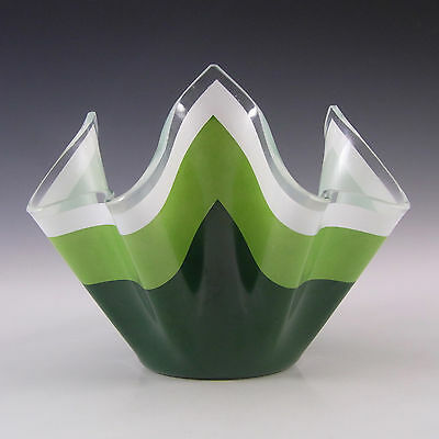 Chance Brothers Green Glass 'Duet' Handkerchief Vase
