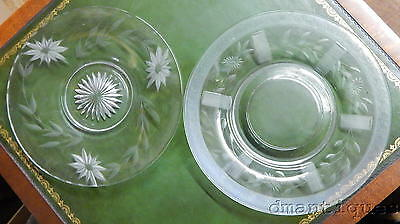 2 Vintage Decorative Pattern Glass Crystal Plates Trays Etched Flowers Leaves